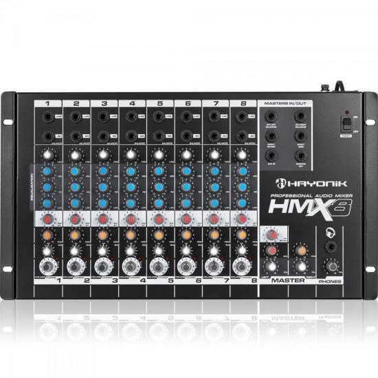 Mixer/Mesa de Som HMX-8 8 Canais HAYONIK