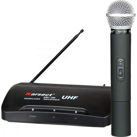 Microfone de Mão Sem Fio KRU-200 Preto KARSECT