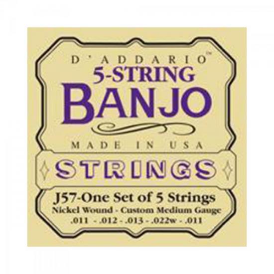 Encordoamento Para Banjo J57 5 Cordas Níquel 0.11 D`ADDARIO