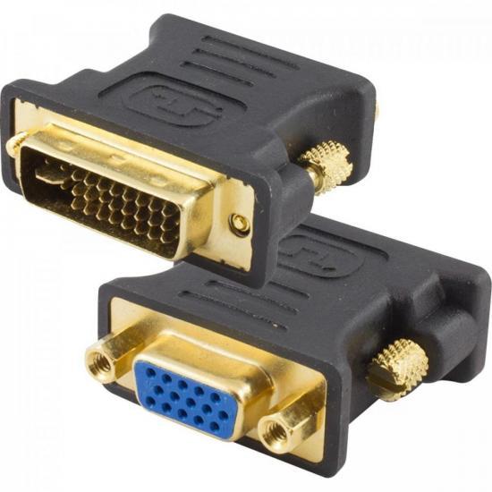 Adaptador DVI Dual Link Macho 24+5 para VGA Fêmea Preto STORM
