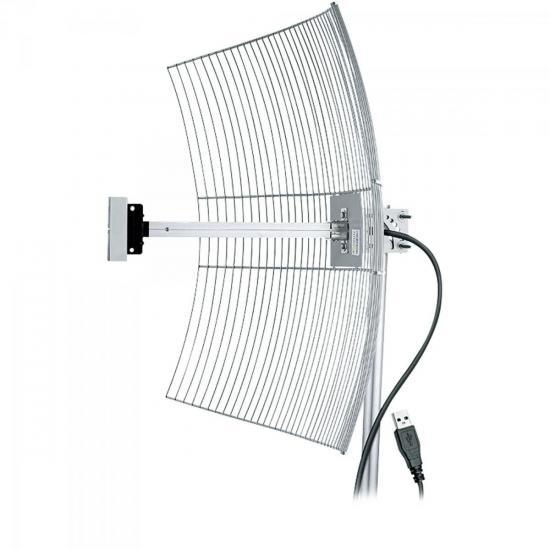 Antena USB Parabóla para Internet 2.4GHz 25dBi USB2510 AQUÁRIO