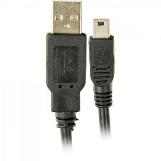Cabo USB 2.0 x Mini USB 5 Pinos 1,8 Metros Preto GENÉRICO
