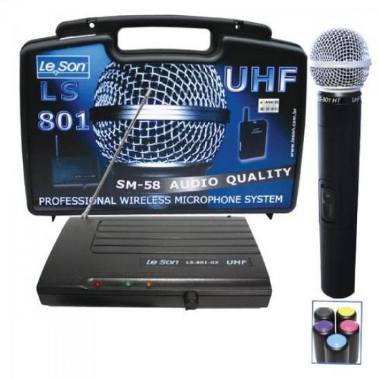 Microfone de Mão Sem Fio LS801HT UHF SM58 LESON