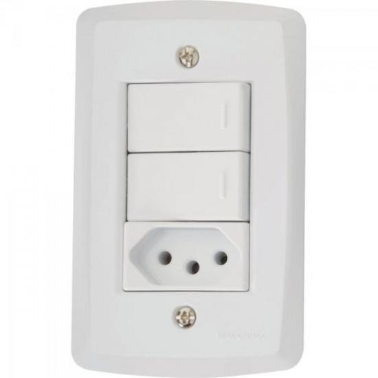 Interruptor Duplo Simples 4x2 com 2 Teclas + 1 Tomada 2P+T 10A 250V 57145/073 Branco TRAMONTINA