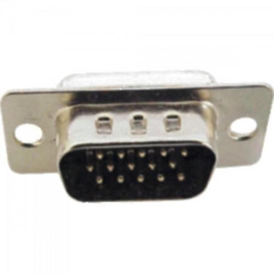 Conector Macho com Pinos 3 Colunas HD15 GENÉRICO