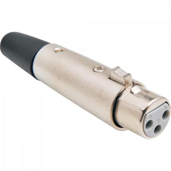 Conector Cannon XLR Fêmea Linha Liso Metal Niquelado GENÉRICO