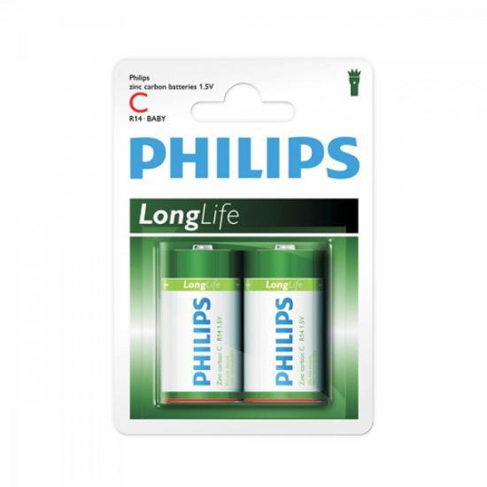 Pilha Zinco Carbono C (média) 1,5V R14L2B/97 c/2 PHILIPS