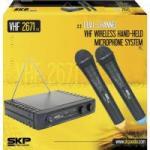 Microfone Duplo sem Fio Bivolt VHF2671 Preto SKP