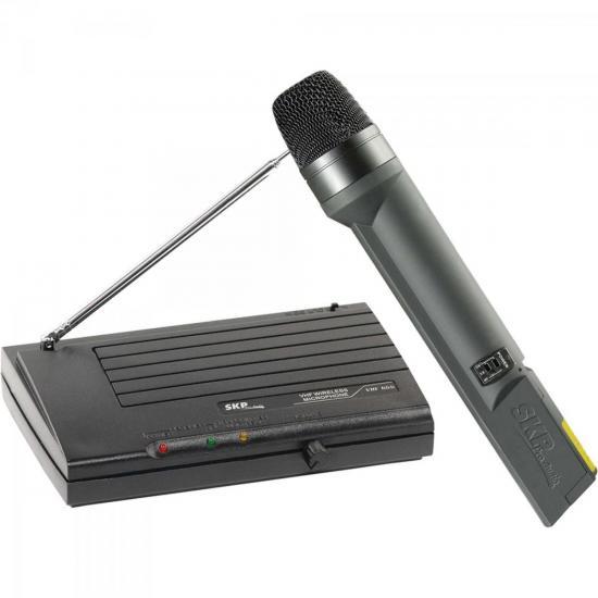Microfone sem Fio VHF655 Preto SKP