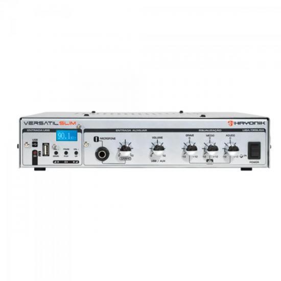 Amplificador 50W VERSATIL SLIM USB 70V Prata HAYONIK