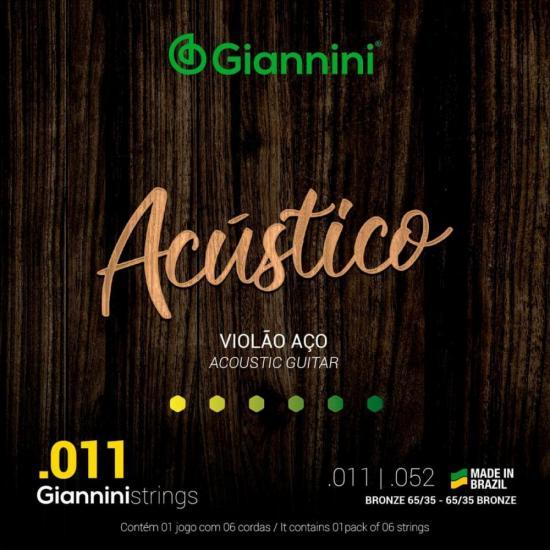 Encordoamento Para Violão GESPW Série Acústico Aço 0.11 GIANNINI