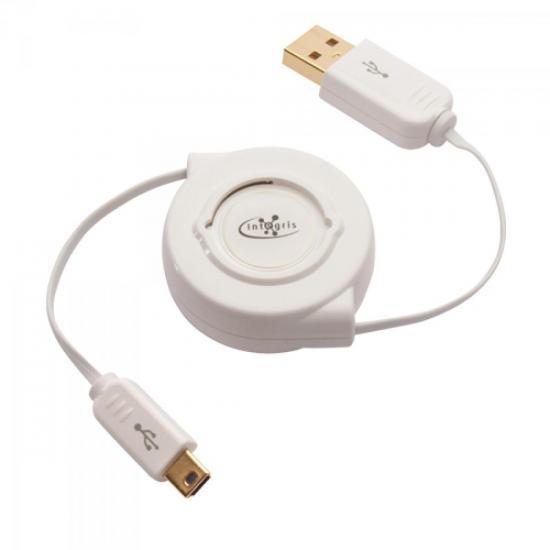 Cabo USB 2.0 Retrátil 0,8M Branco INTEGRIS