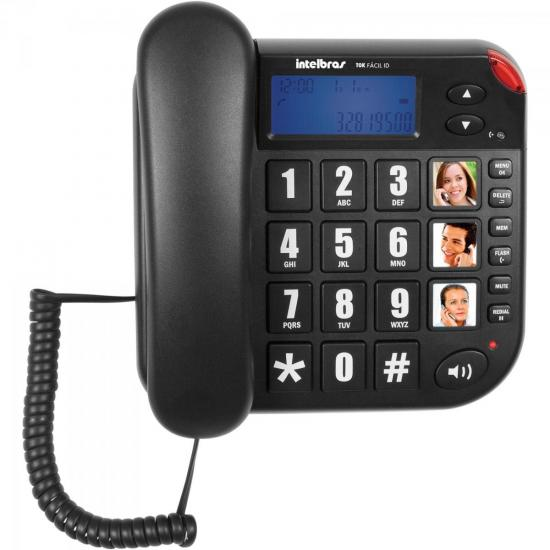 Telefone Tok Fácil ID Preto INTELBRAS