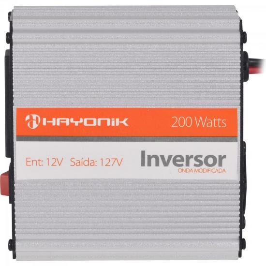 Inversor de Onda Modificada 12VDC/127V USB 200W HAYONIK