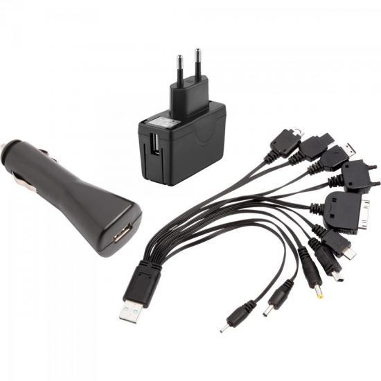 Multi Carregador USB 10 em 1 com Adaptador de Parede + Veicular + Cabos XCMC10X1 FLEX