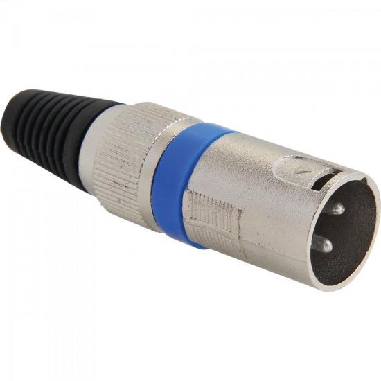 Conector XLR Macho 3 Pinos Azul GENÉRICO
