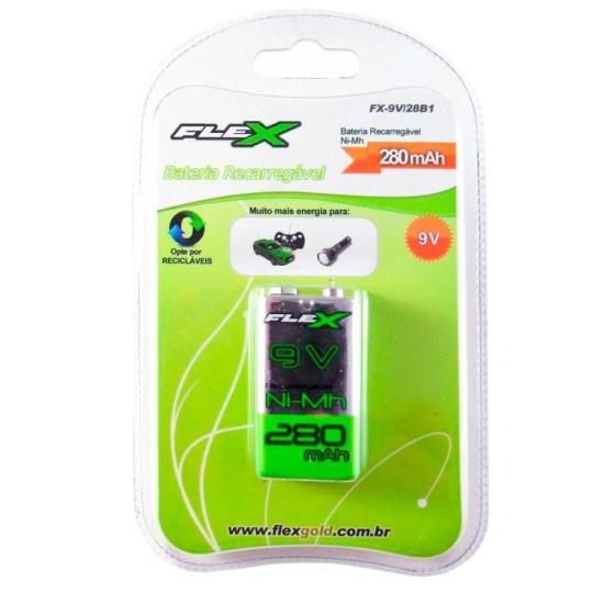 Bateria Recarregável 9V 280mAh NiMh FLEX