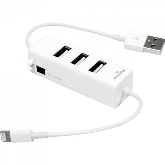 Hub USB 3 Portas Conector Iphone XC-HUSB-5 Branco X-CELL