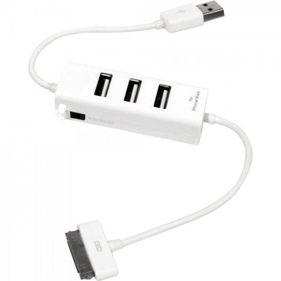 Hub USB 3 Portas Conector Para IPOD/IPAD/IPHONE XC-HUSB-4 Branco X-CELL