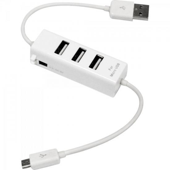 Hub USB 3 Portas Conector V8/Micro USB XC-HUSB-3 Branco X-CELL