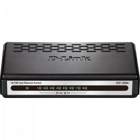 Switch Fast 8 Portas 100Mbps DES-1008A-B1 Preto D-LINK