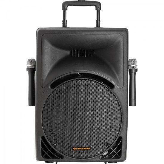 Caixa Acústica Ativa 150W USB/SD/FM c/2 Microfones s/Fio e Bateria Interna INFINITY 3000 Preta HAYONIK