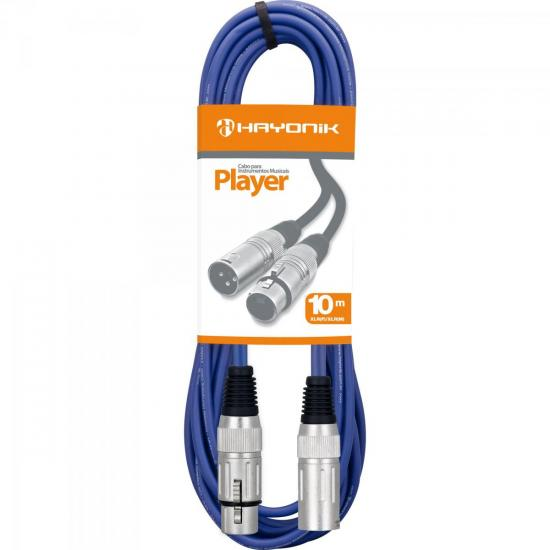 Cabo para Microfone XLR(F) X XLR(M) 10m PLAYER Azul HAYONIK