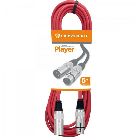 Cabo para Microfone XLR(F) X XLR(M) 5m PLAYER Vermelho HAYONIK