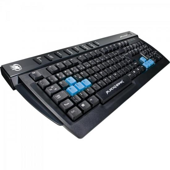 Teclado Gamer Multimídia BLACK HAWK GK-702 Preto/Azul FORTREK
