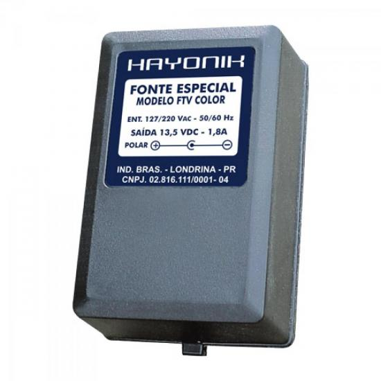 Fonte FTVCOLOR 13,5VDC 1,8A p/TV COLOR Plug C+ HAYONIK
