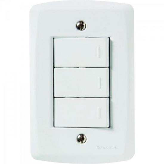 Interruptor Triplo Simples 4x2 com 3 Teclas Paralelas 10A 250V Branco TRAMONTINA
