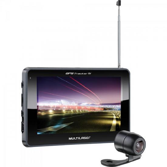 Navegador GPS 5 Tracker III com Câmera de Ré/TV/Rádio FM GP037 Preto MULTILASER