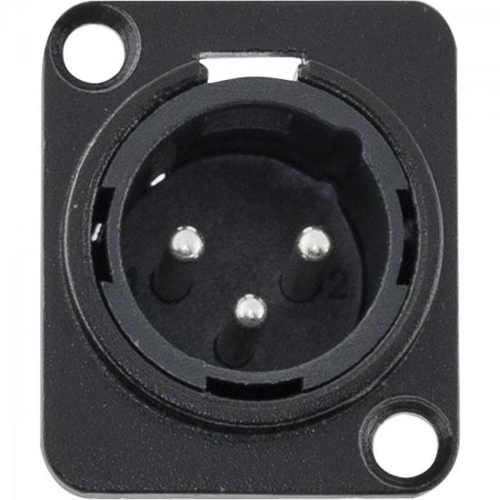 Conector XLR Macho Painel 3 Pólos Niquelado HX049M Preto HYX