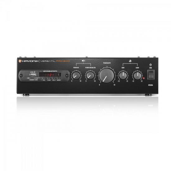 Receiver Amplificador Som para Ambiente PRO 600 Bluetooth/FM/USB/SD/70V 50/4/8R/100W RMS HAYONIK