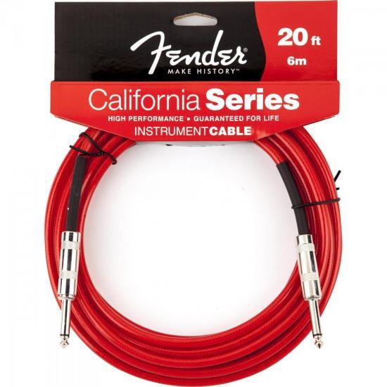 Cabo para Instrumentos P10 x P10 6m CALIFORNIA SERIES Vermelho FENDER