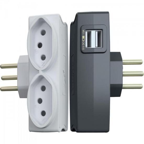 Multi Carregador USB 3P DN1650 Preto DANEVA