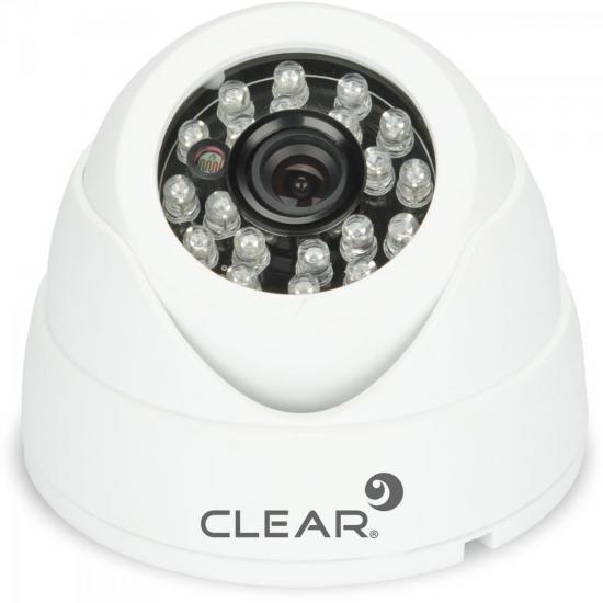 Câmera AHD Mini Dome IR 25m 3,6mm 720P AHD-24L Branca CLEAR