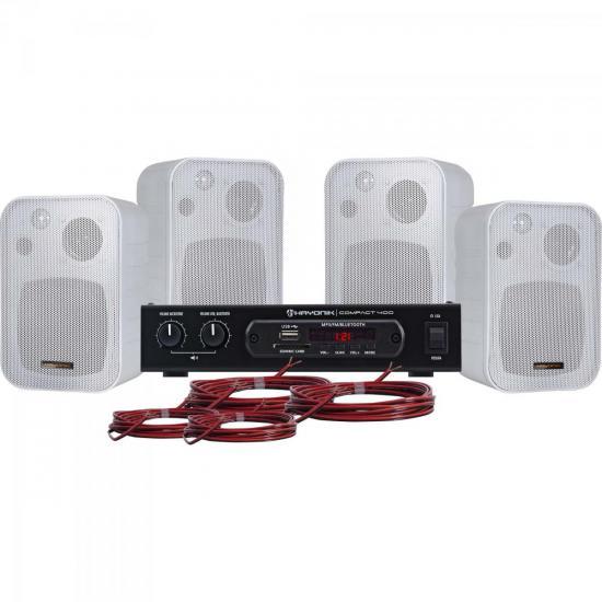 Kit Som Ambiente 400W Musical AMBIENCE 4000 Branco HAYONIK