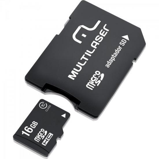 Cartão de Memória 16GB Micro SDHC com Adaptador MC110 CLASSE 10 MULTILASER