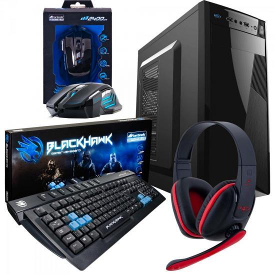 Kit Barebone Gamer Gabinete + Headset + Teclado + Mouse BLACK HAWK FORTREK