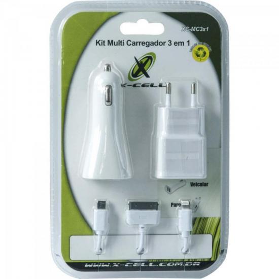 Kit Carregador 3 em 1 Micro USB/Lightning/Doc XC-MC3X1 Branco X-CELL
