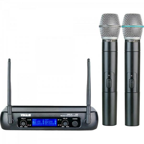 Microfone de Mão sem Fio Duplo UHF VWR-25MM Preto VOKAL