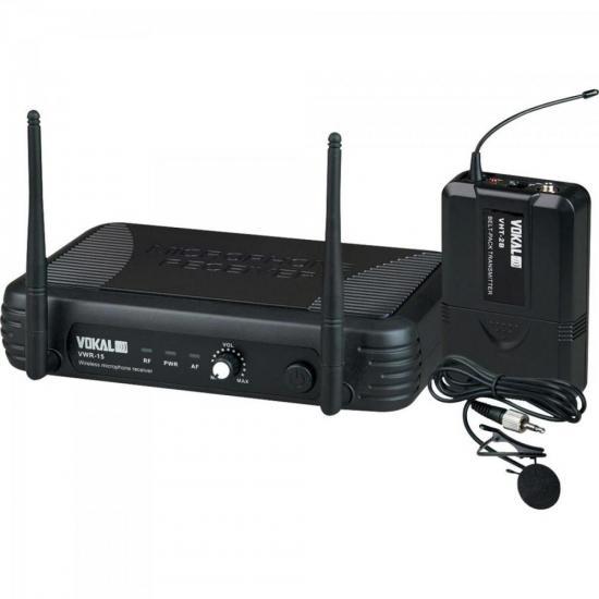 Microfone Lapela UHF VWR-15 Preto VOKAL