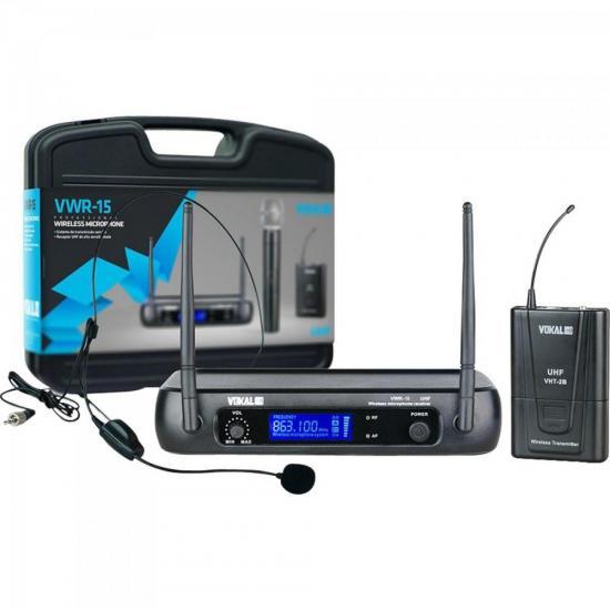 Microfone Headset UHF VWR15 Preto VOKAL