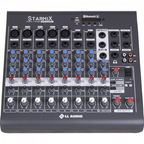 Mesa de Som c/ 08 Canais Stereo Starmix XMS802R Cinza