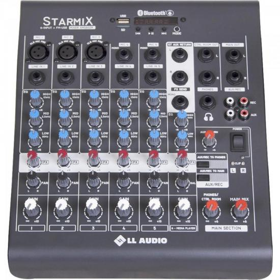 Mesa de Som C/ 06 Canais Stereo Starmix XMS602R Cinza LL AUDIO