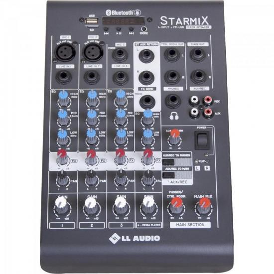 Mesas de Som c/ 04 Canais Stereo Starmix XMS402R Cinza LL AUDIO