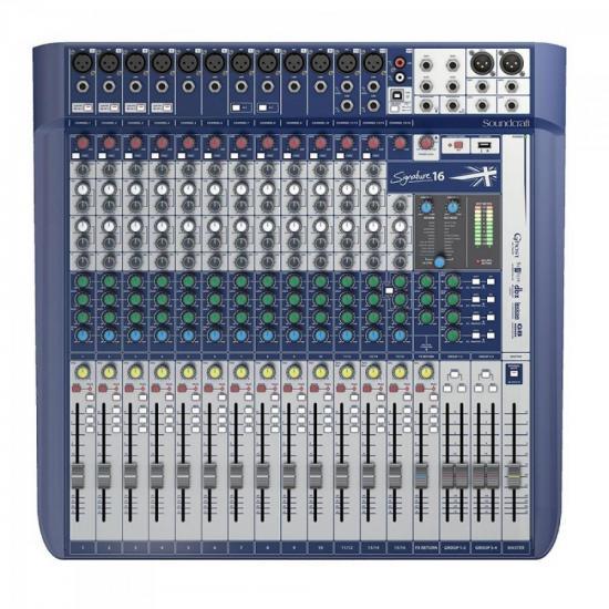 Mixer Analógico 16 Canais SIGNATURE Preto/Azul SOUNDCRAFT