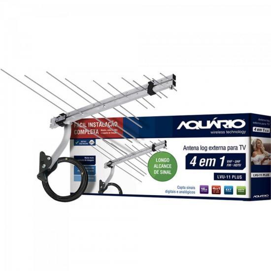 Kit Antena Log Externa TV 4 em 1 VHF/UHF/FM/HDTV LVU-11 PLUS AQUÁRIO | GTC