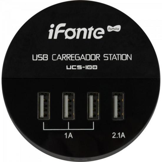 Carregador USB 4 Portas UCS-100 Preto EXBOM | GTC